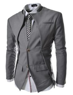 TheLees (NJK7) Mens Slim Fit Double Collar 2 Button Jacket Gray Medium(US Small) TheLees http://www.amazon.com/dp/B008YF7G5K/ref=cm_sw_r_pi_dp_yQr4ub1B1AEXH