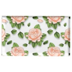Peach Rose pattern table card holder