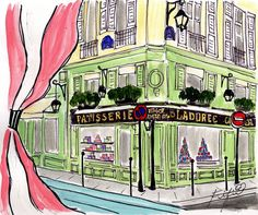 Pink Striped Window View of Ladurée... original painting by Fifi Flowers