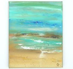 Ocean painting textured abstract beach modern by TheEscapeArtist