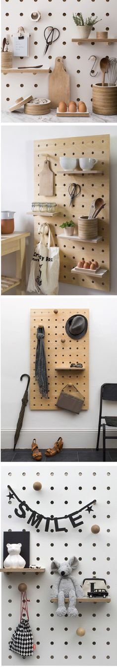 This updated pegboard concept comes from Swiss born designer, Nikki Kreis of Kreisdesign. Made up of a simple birch plywood panel with sturdy holes you can customise with pegs (choose from straight or round head), mini clipboards and shelves that slot in to suit your storage needs