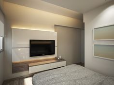 The goal for the designer in the apartment is simple, visually enhance the rooms and make them as practical and as functional as they can be. By creatively arranging the furniture, the designer has achieved the latter, while neutral colors are used for visual enhance of the rooms. Starting from the living area, we see the simplicity of the design in the TV feature wall. A simple design with timber background, floating shelves underneath it and few shelves for displaying objects, and the…
