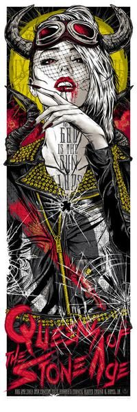 Queens Of The Stone Age - 2013 Tour: Vampire Limited Edition Print. Art:  Rhys Cooper 915 x 305 mm = 36 x 12 inch. Limited edition # 266 of 350 prints Printed o