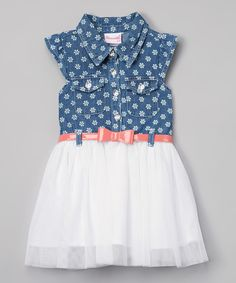 Take a look at this Nannette Blue Chambray Flower Sleeveless Dress - Toddler today!