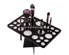Hot sale makeup brush holder. The brush tree is made from bright black Acrylic rubber and carefully planished, soft and stable, won't hurt your hands and brushes.