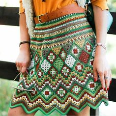 Another wonderful design for the bohemian clothing is the part of the image shown below. This beautiful, colorful crocheted skirt seems adorable at the first sight. The idea is comfortable to wear whenever you plan to move outside home on shopping or for anyother purpose.