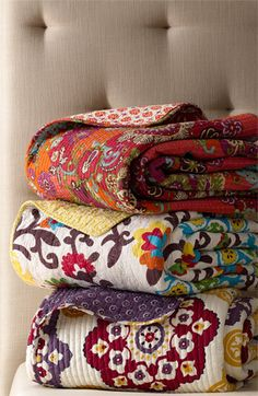 Moroccan quilts - love the colors