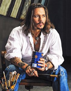 Johnny Depp, male actor, painter, long hair style, steaming hot, sexy guy, celeb, famous, beard, hands, fingers, portrait, photo