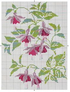 Fuchsia Cross-stitch - no colour chart available, so just use the pattern chart as your colour guide. Just Cross Stitch, Cross Stitch Flowers, Cross Stitch Charts, Cross Stitch Designs, Cross Stitch Patterns, Cross Stitching, Cross Stitch Embroidery, Embroidery Patterns, Hand Embroidery