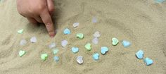 mod podge melts counting beach glass sensory bin