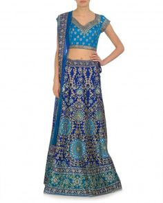 Embellished Royal Blue and Turquoise Lehenga by Ritu Kumar