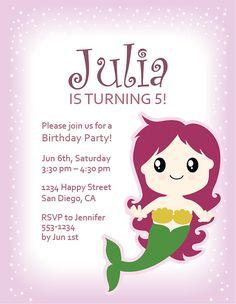 Girl's Mermaid Birthday Party Invitation  #LittleMermaid #GirlBirthday #BirthdayInvitation #Etsy #KidBirthday