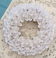 Origami Paper Flower White Wreath / wedding by kreationsbykia
