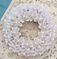 Origami Paper Flower White Wreath / wedding by kreationsbykia
