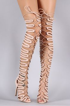 Suede Strappy Cage Lace-Up Open Toe Thigh Boots