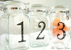 Make your own numbered Jars inspired by pottery barn.