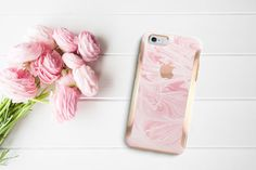 Platinum Edition Pink Marble Swirl with Rose Gold Detailing Hybrid Hard Case…
