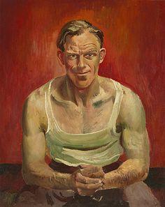 Harald VIKE, Self-portrait in singlet, 1957 Self, Portraits, Painting, Art, Art Background, Head Shots, Painting Art, Kunst, Paintings