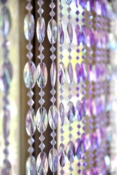 This beaded curtain has two shades of acrylic purple beads and shines so beautifully! Comes with attached rod and is fully assembled. Beaded strands are easily Gypsy Curtains, Beaded Curtains, Door Curtains, Bead Crafts, Arts And Crafts, Door Beads, Harry Potter Room, Rainbow Crafts, Hanging Pots