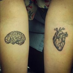 Heart and brain tattoo