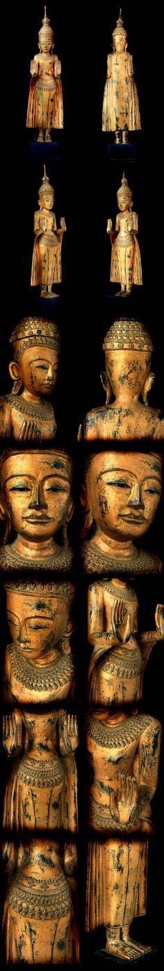 Extremely Rare 18C Wood Standing Shan Burmese Buddha #OF.075