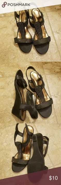 Black strappy wedges Worn once, one strap separated New York Transit Shoes Wedges