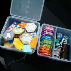 Sew Many Ways...: Tool Time Tuesday...Sandwich Box Sewing Kit hexies