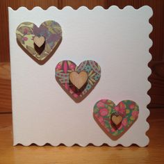 Handmade hearts & buttons card