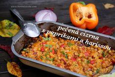 Pečená cizrna s paprikami a harissou je nesmírně snadný vegetariánský pokrm, který se snadno dá obohatit o další zeleninu či quinou, kuskus apod. Quinoa, Cantaloupe, Grains, Rice, Smoothie, Fruit, Food, Bulgur, Red Peppers
