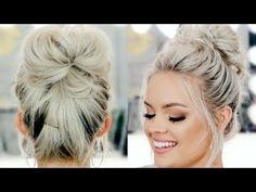 """7 Super Easy Ways To Get The Perfect Messy Bun Topknot, messy bun, \""""I ain't got time for this today\"""" bun - whatever you want to call it, one thing is for sure: we just can't get enough of these hot-mess buns. Here are 7 of our favorites. Bun Hairstyles For Long Hair, Everyday Hairstyles, Hair Dos, Cute Hairstyles, Buns For Long Hair, Two Buns Hairstyle, Donut Bun Hairstyles, Wedding Hairstyles, Fashion Hairstyles"""