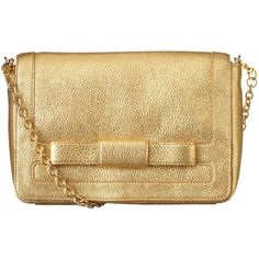 Orla Kiely Gold Sparkle Leather Robin Bag ($475) ❤ liked on Polyvore