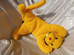 Yellow sunshine KITTEN Cat  Soft cuddly stuffed plush animal with red nose OOAK handmade by TALLhappyCOLORS