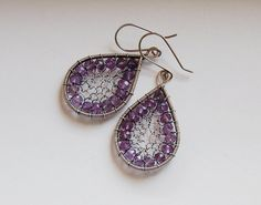 Handmade Amethyst Gemstone Earrings Wire Wrapped by WireFantasies, $46.00
