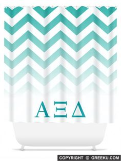 Sorority Chevron Ombre Teal Shower Curtain | Free Shipping. Order for your sorority (shown in Alpha Xi Delta)! ** Also comes in other designs. Shop now! http://www.greeku.com/sorority/merchandise/home-decor/shower-curtains/chevron-ombre-teal-shower-curtain/