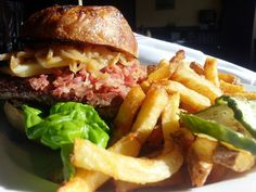 Create your own #Burger @highlandtapden #Bison #SauteedOnion #Bacon #SmokedCheddar #FriedEgg