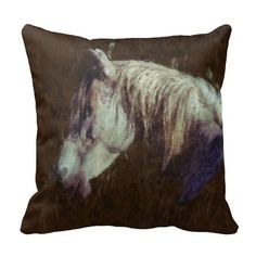White Horse Portrait Impressionist Painting Pillow