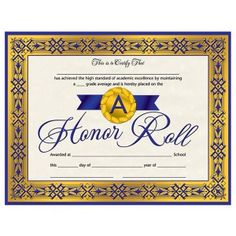 Printable honor roll award certificate in pdf and doc formats free a honor roll certificate 30pack downloadable templates available to personalize or can be handwritten yelopaper Gallery