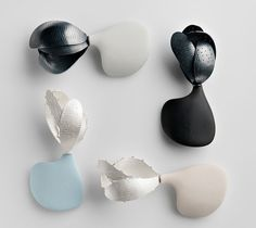 Chiaro Oscura, 2012 Brooches – Sterling Silver, Sterling Silver blackened, polyurethane resin