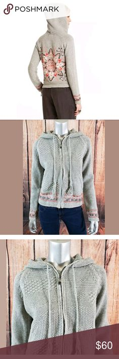 "Odd Molly Collins Hooded Cardigan Sweater Size 2 Odd Molly Collins Zip Hood Cardigan Sweater Womens Size 2 Gray Floral Print NEW  Condition:  Brand New with Tags  Measurements: Bust (Pit to Pit):  17.5"" Length:  22"" Odd Molly Sweaters Cardigans"