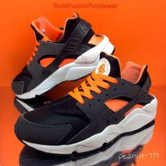 65af2ee8862 NIke Air Huarache Running Trainers Sneakers Limited Edition Black Total  Orange Anthracite Size  UK EU 43 US Interior length is  Unisex