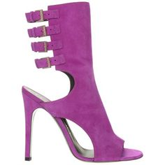 Ozsale - HALSTON HERITAGE Suede Leather Open-Toe Sandals -'Fuchsia' w/Stiletto Heels and Multi buckle strap detail