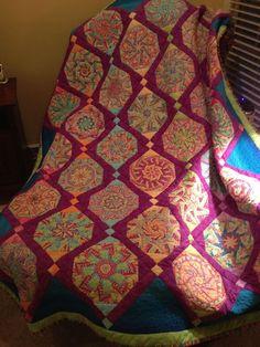 One block wonder quilt with sashing                                                                                                                                                                                 More
