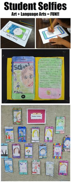"Fun, contemporary back-to-school lesson! Have your students draw ""selfies"" and describe their summer via text message prompts. Makes for a great bulletin board display!!"