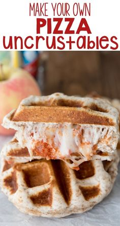 Make your own PIZZA uncrustables! Only 3 ingredients, easy, make them in a waffle maker. It's a pizza sandwich, perfect for lunch boxes.