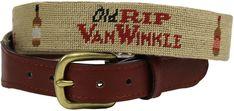 Old Rip Van Winkle (Pappy Van Winkle) Needlepoint Belt in Khaki by Smathers & Branson