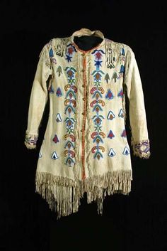 Early Man's Beaded and Fringed Coat, c. 1880:  Absaroke (Crow) Nation
