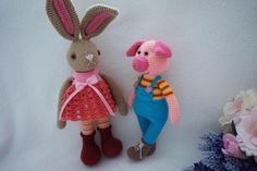 Lucky pig and sweet bunny crochet patterns by suwannascraftsroom on Etsy https://www.etsy.com/listing/529080981/lucky-pig-and-sweet-bunny-crochet