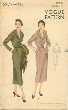 High Fashion 1940s Sewing Pattern  VOGUE 6977  by shellmakeyouflip, $36.00