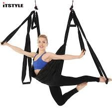 Yoga Belts Red Anti-gravity Yoga Hammock High Strength Parachute Fabric Inversion Therapy Flying Traction Yoga Gym Hanging Swing