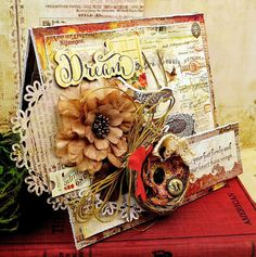 Tattered Treasures: A Finely Feathered Nest; Sept 2016  #tatteredtreasures  NTS: like this card.  use my Tim Holtz supplies to make this type of card.